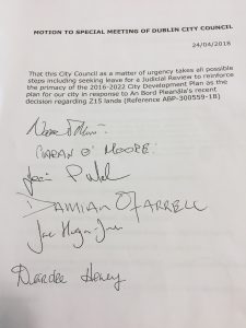 Council motion agreed 23 April 2018